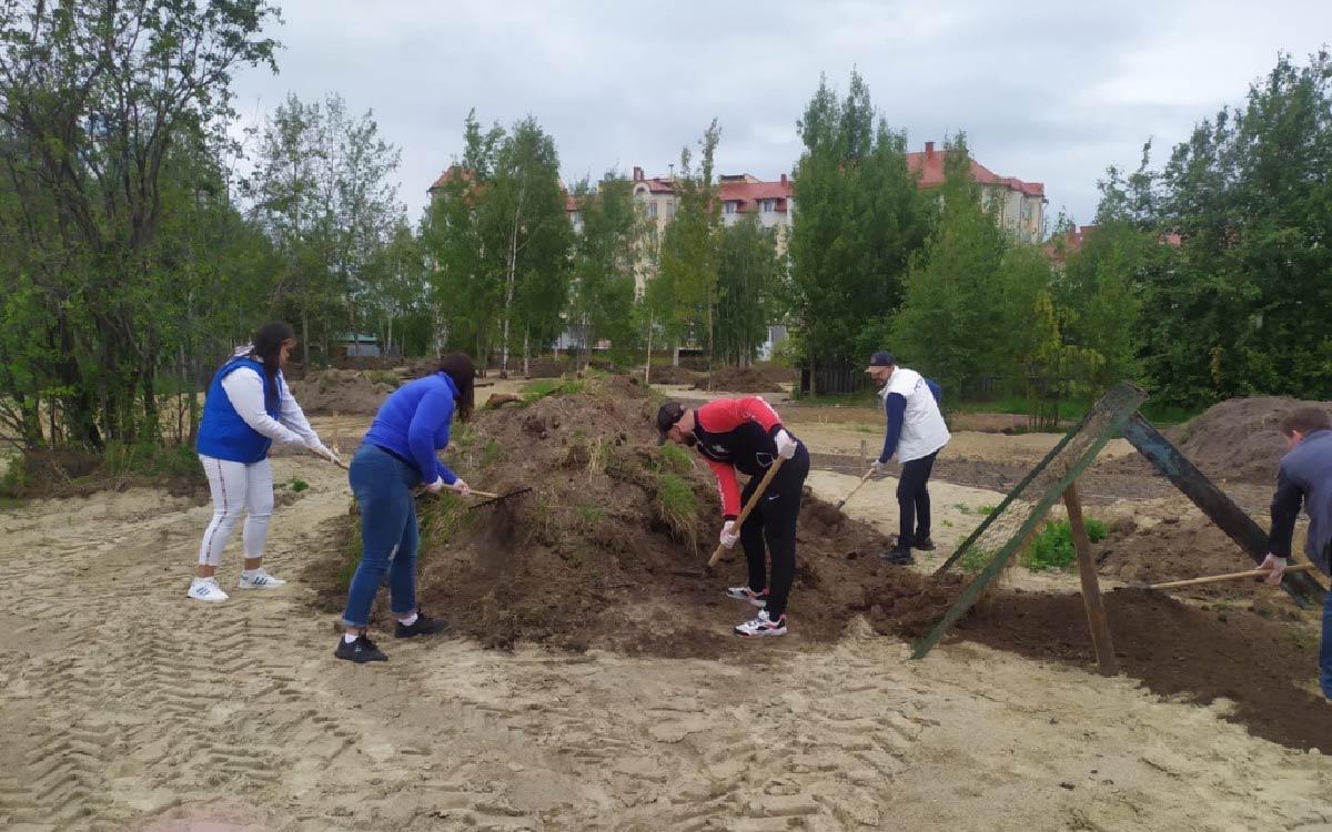 Молодогвардейцы Югорска поддержали инициативу Совета молодых ученых и специалистов «Газпром трансгаз Югорска» и провели субботник на территории будущего сквера по улице Лесозаготовителей.